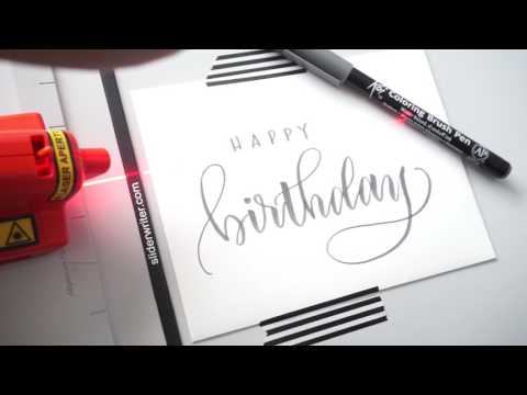 Birthday Card Brush Lettering with Pieces Calligraphy - YouTube
