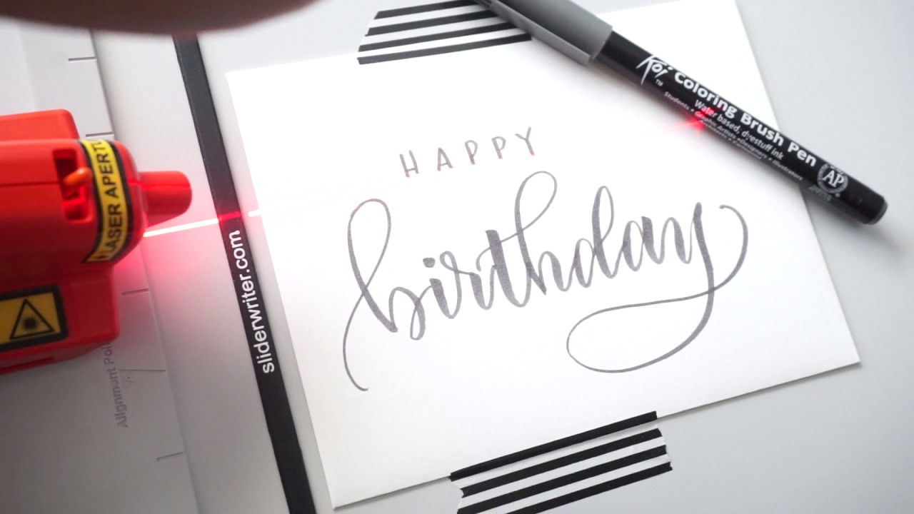 Birthday Card Brush Lettering With Pieces Calligraphy Youtube
