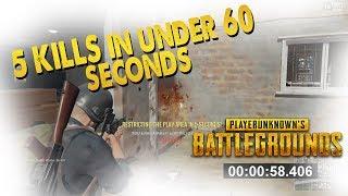5 KILLS IN UNDER 60 SECONDS (PlayerUnknown Battlegrounds)