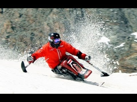 """Sit ski """"The Freedom Chair"""" Silver Star Mountain Resort The Disabled Skiers Assoc of BC"""