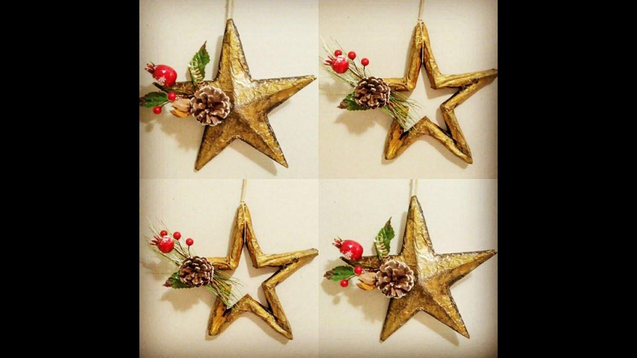 C mo hacer estrellas de navidad reciclando cart n youtube - Como hacer estrellas de navidad ...