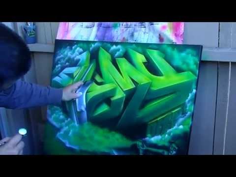 3D Graffiti painting on canvas (speed painting) iwata Eclipse HP-CS