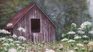 Rustic Barn in Wildflowers Landscape Acrylic Painting Tutorial LIVE