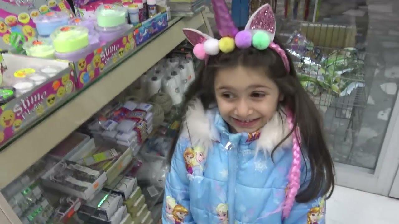 Lina İle Kırtasiyede Slime Alışverişimiz Ne Bulduysak Aldık   Funny Kids Video