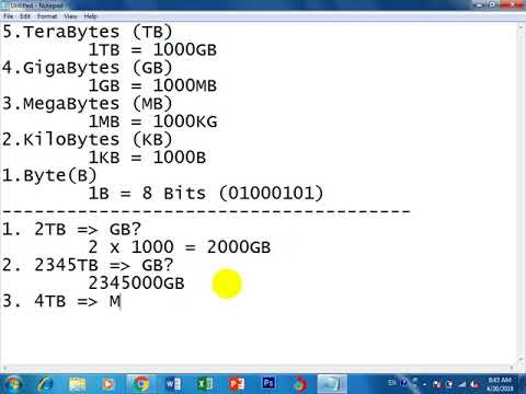 Byte Kilobyte Megabyte Gigabyte Terabyte Conversion Part 2 Youtube