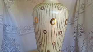 Vintage Mid Century Modern Table Lamp White And Gold With Brass Shade Excellent Condition