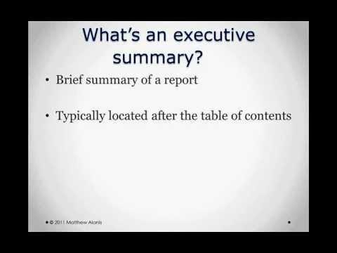 Preparing Executive Summaries   Episode 14