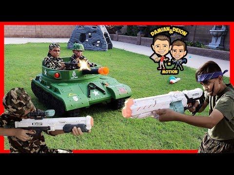 Backyard Battle With Tank | X-Shot Shootout | Thunder Tank | Du0026D Squad Battles