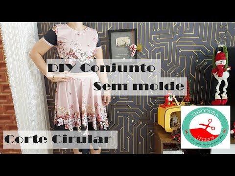 DIY - Conjunto com Saia Godê sem molde - Curso de Corte e Costura - Passo a Passo