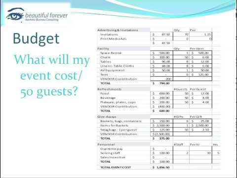 Aesthetic Business - Planning a Successful Event- Part 4 - Create an Event Budget