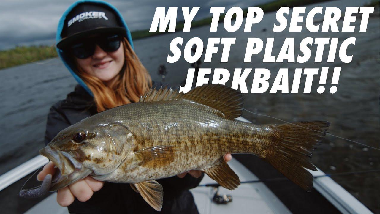 TOP SECRET Soft Plastic Jerkbait for Smallmouth Bass - Insane Underwater Bass Strikes!