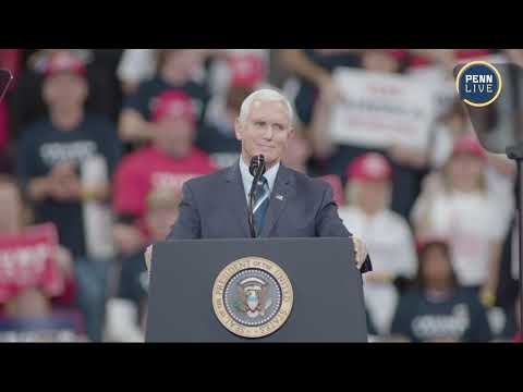 Vice President Mike Pence speaks at the Trump rally in Hershey