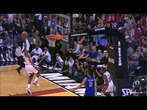 Dwyane Wade LeBron James dunk party vs New York Knicks (complete highlights) 01.27.2012