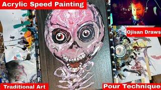 Acrylic Pour Hybrid Skull Acrylic Pour Painting