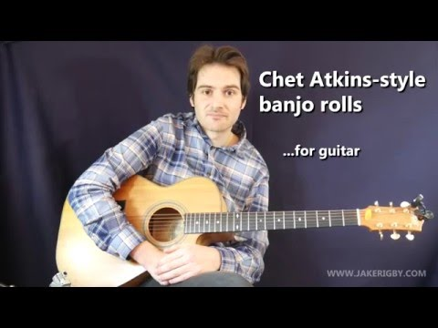 Guitar lesson - country Chet Atkins style banjo rolls (and G7 lick) + TAB