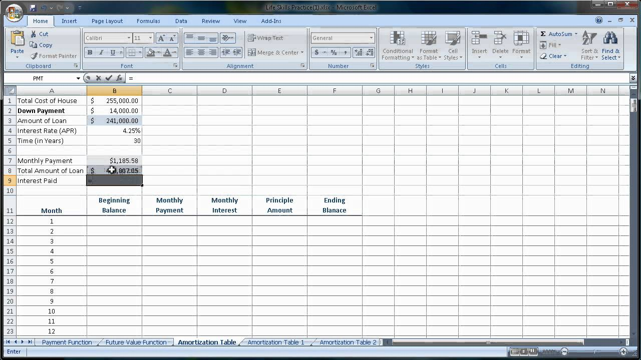 excel 2007 2010 amortization tables loan amounts you pay each month