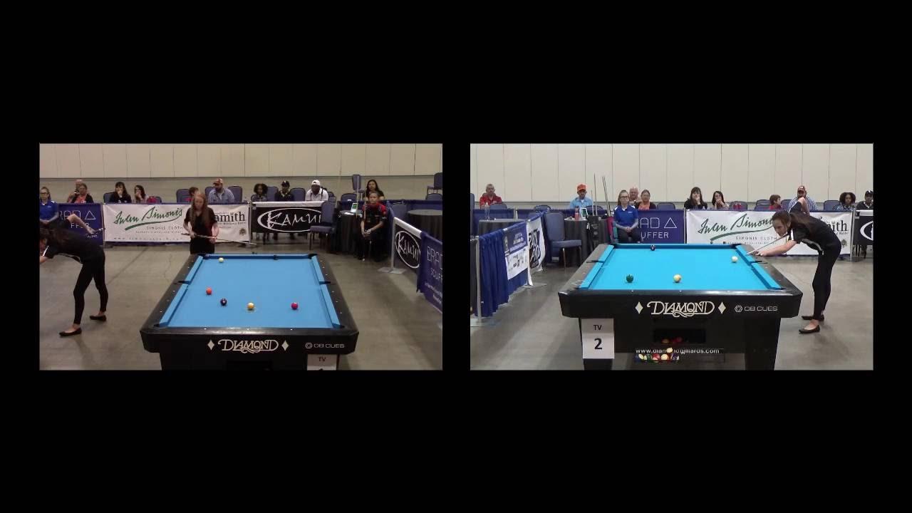 Amanda Campbell Vs Ashley FullertonApril Larsen Vs Taylor Hansen - Fullerton pool table