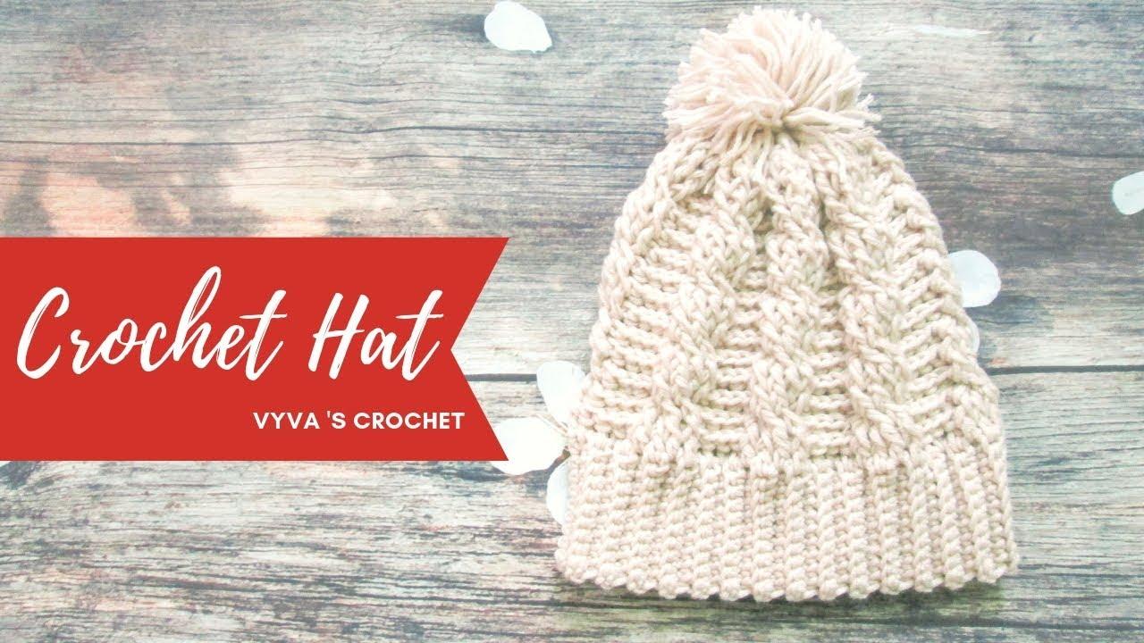 Crochet Hat | ❉Hướng dẫn móc mũ len họa tiết vặn thừng❉ | Vyvascrochet