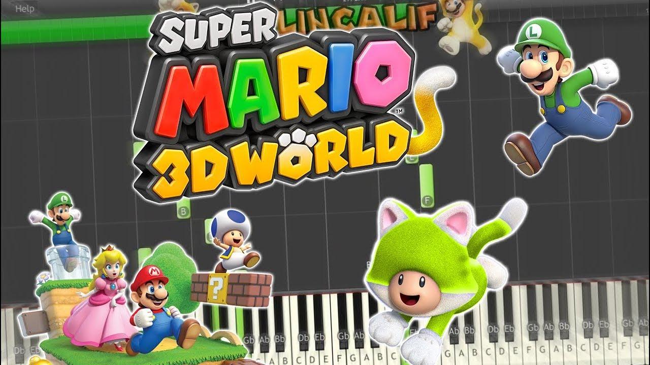 Super Mario 3D World - Super Bell Hill/Main Theme Piano Tutorial Synthesia