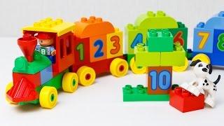 Конструктор Лего поезд с цифрами.  Мультфильм про поезд Lego Duplo Number Train считай и играй 10558