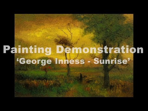 Stdy after: George Inness Sunrise 7×10 Tonalist Landscape Oil Painting