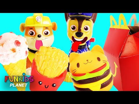 Paw Patrol Eats McDonalds Happy Meal with Giant Hamburger!!