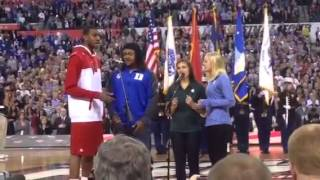 Badgers' Vitto Brown sings national anthem before NCAA Final Four semifinals