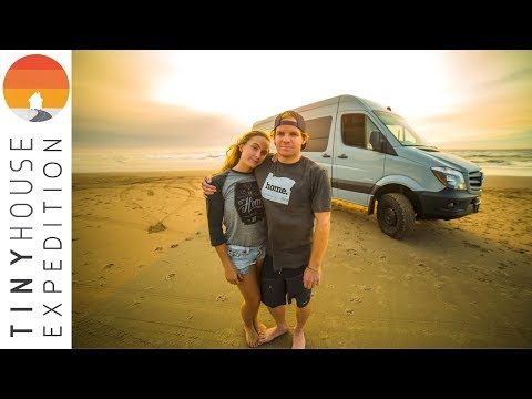 Young Van Life Couple Chasing Waves | Sailboat to Land Yacht (Custom DIY Sprinter Van)