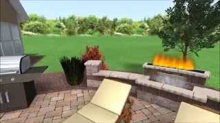 Outdoor Unilock Paver Patio, Water/fire Feature, Pergola, And Outdoor Furniture