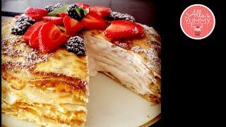 How To Make Strawberry Crepe Cake - Dessert Recipe - Блинный торт с клубничным кремом