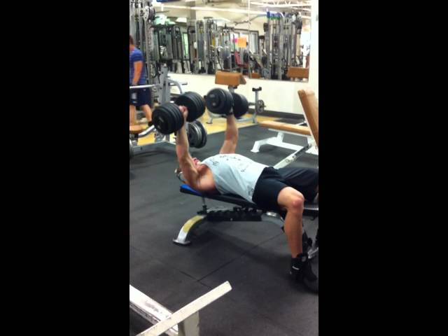 Pressing the 100's, gym doesn't have heavier dumbbells :(