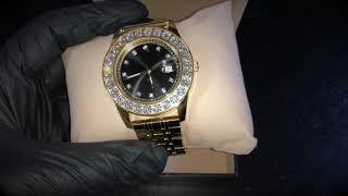 Gold Dayton CZ Bezel Watch