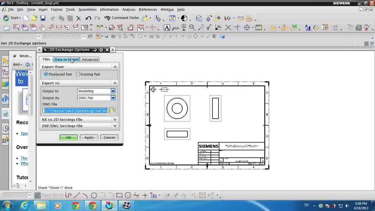 unigraphics nx how to export dwg file from prt file