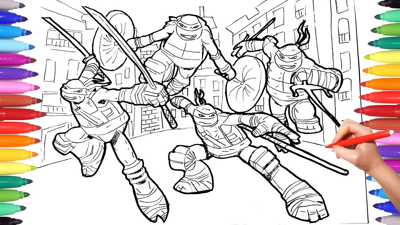 TEENAGE MUTANT NINJA TURTLES Coloring Pages for Kids | TMNT Leonardo  Raffaello Donatello Mickey
