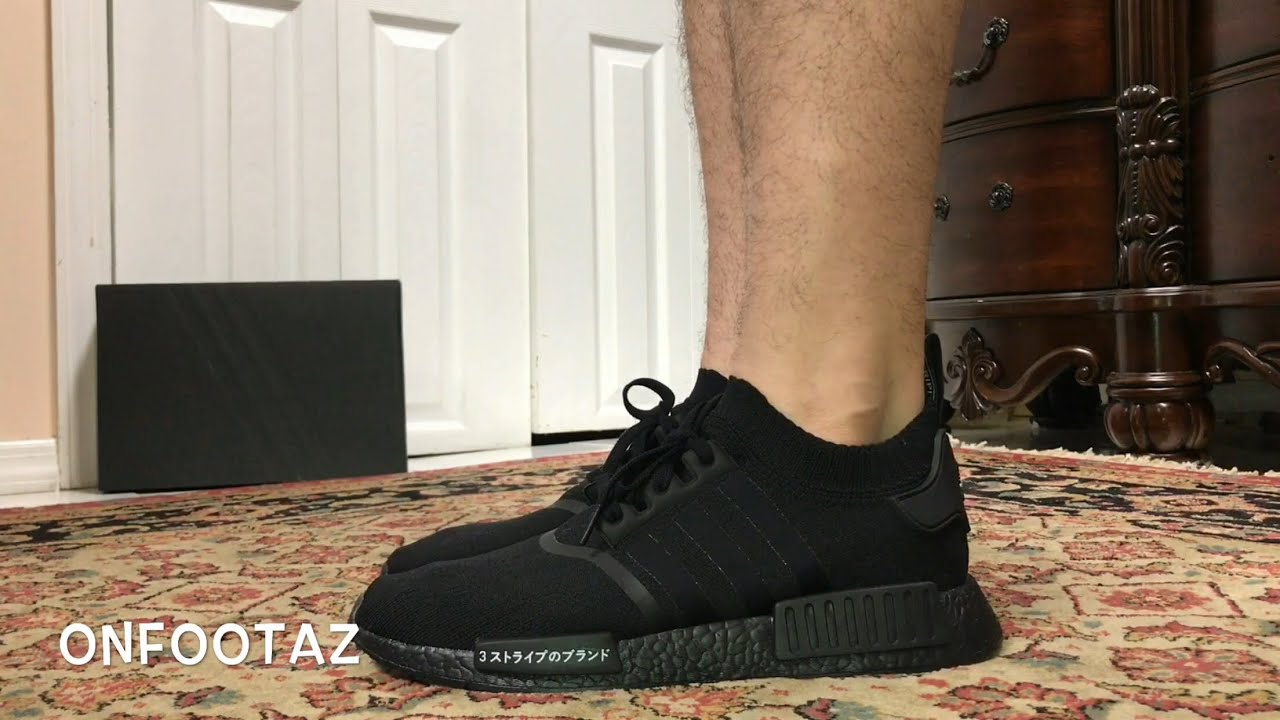 check out f8d3c 846f2 Adidas NMD R1 PK PrimeKnit Japan Triple Black On Foot