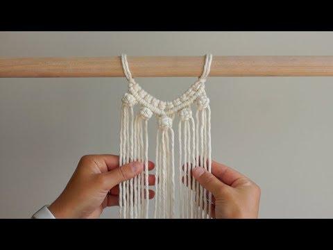 DIY Macrame Tutorial Using Double Half Hitch Knots & Berry Knots! Semi-Circle Pattern