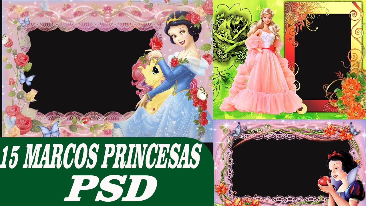 15 Pack de Marcos Princesas psd - Editables en photoshop - YouTube
