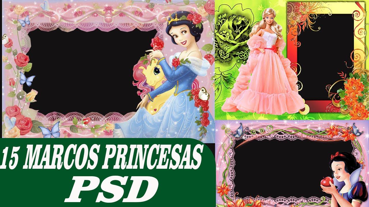 15 Pack de Marcos Princesas psd  Editables en photoshop