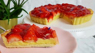 Strawberry Tart with Vanilla Custard Cream  Fresh Strawberry Pie Recipe  Strawberry Cream Pie