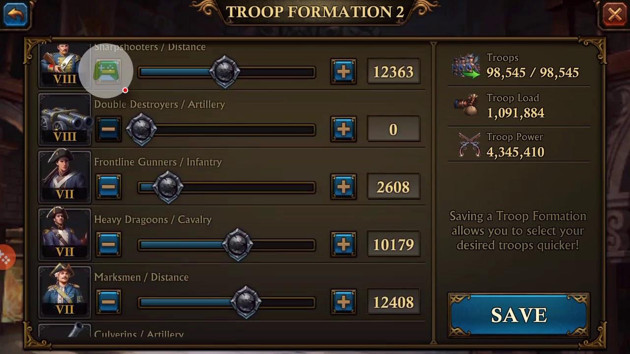 Troop Formation Guns Of Glory (GoG)