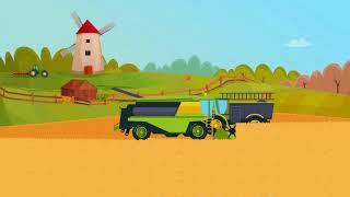 Ферма, трактор и комбайн, сельскохозяйственных работ анимация для детей