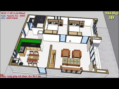 Bố trí nhà 80m2 cho khách   Simple house