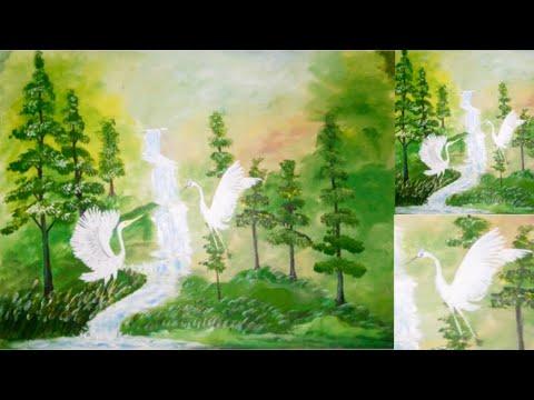 Easy acrylic landscape painting for beginners .Sadhon mondol Shanto Bangladesh.