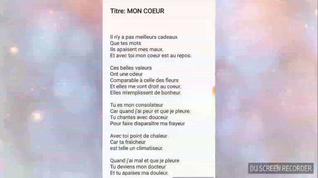 Mon Poeme Titremon Coeurparoles Qui Témoignent Un Amour