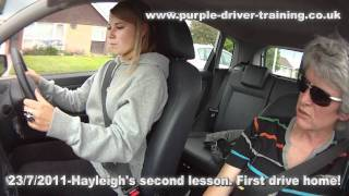Hayleigh's second lesson - drive home.