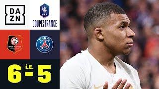 Mbappes Tritt überschattet Pleite: Rennes - Paris Saint-Germain 6:5 i. E.   Coupe de France   DAZN