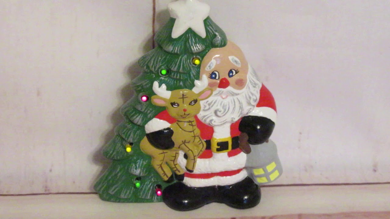 Vintage Battery Operated Table Top Ceramic Musical Lighted