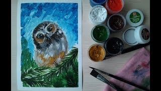 Как нарисовать сову красками(гуашь) How to paint an owl with paints(gouache)