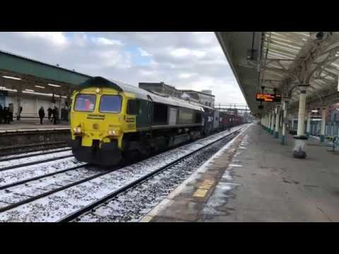 Freight, Loco moves, HSTs, IETs and units in the snow at Newport South Wales 19/3/18