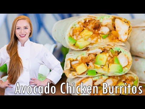 Avocado Chicken Burritos With Cilantro Sauce